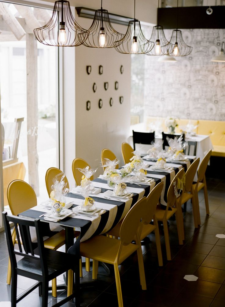 Yellow & Black Dinner Party  Read more - http://www.stylemepretty.com/living/2013/09/13/yellow-black-dinner-party/