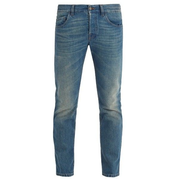 Gucci Tiger-embroidered mid-rise tapered-leg jeans ($880) ❤ liked on Polyvore featuring men's fashion, men's clothing, men's jeans, light blue, mens flap pocket jeans, mens mid rise jeans, mens faded jeans, mens rolled jeans and mens slim jeans
