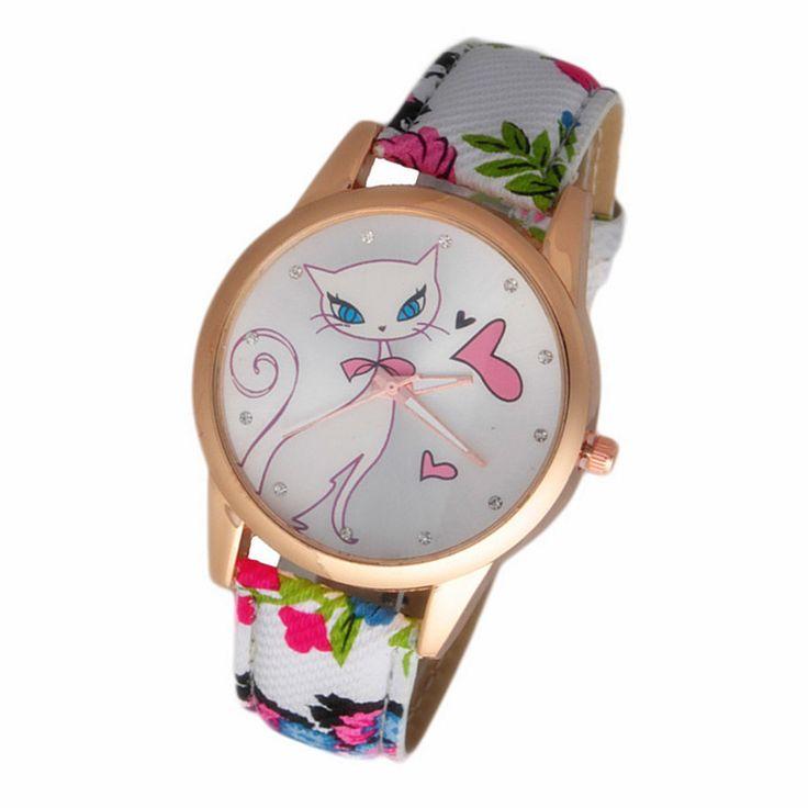 2017 New Fashion Cute watches Women and Children Favor cat Cartoon watches Casual quartz - free shipping worldwide