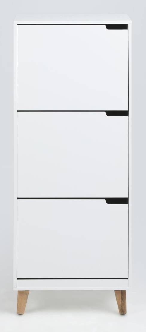 Liam Skoskab - Hvid - Hvidt skoskab i enkelt design. Skoskabet er fremstillet i hvidmalet træ og egetræ og er udstyret med tre praktiske skuffer. Et perfekt skoskab til den moderne entre.