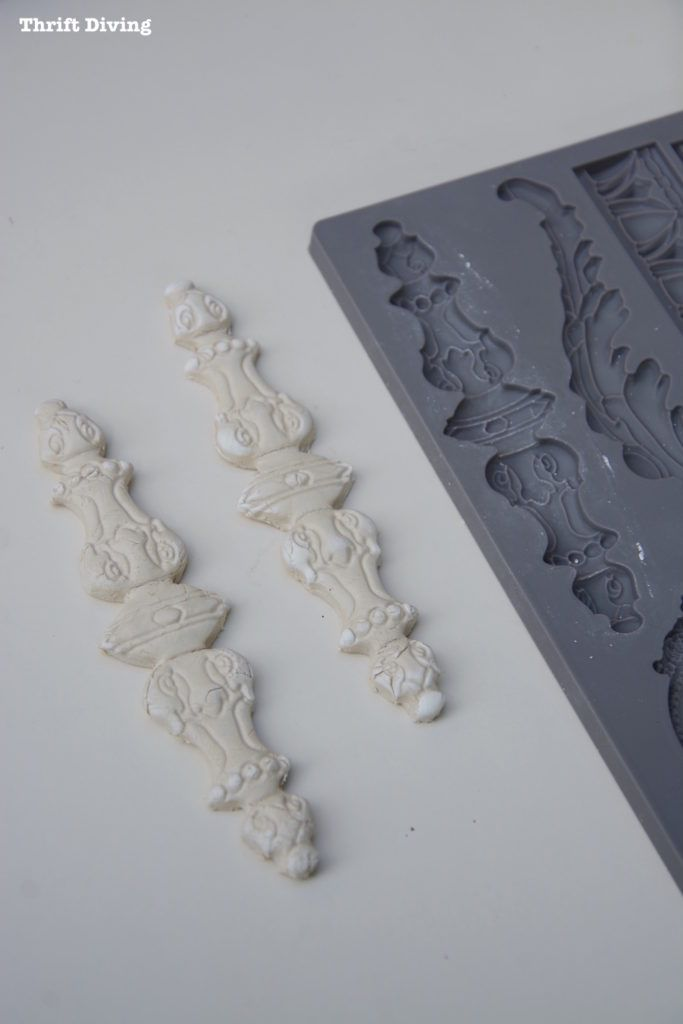 """How to Add Vintage DIY Clay Mold Appliques on Furniture - Using clay molds you can create appliques that can be glued to furniture to """"oomph"""" to your projects! Get the full tutorial and info on where to buy the molds."""