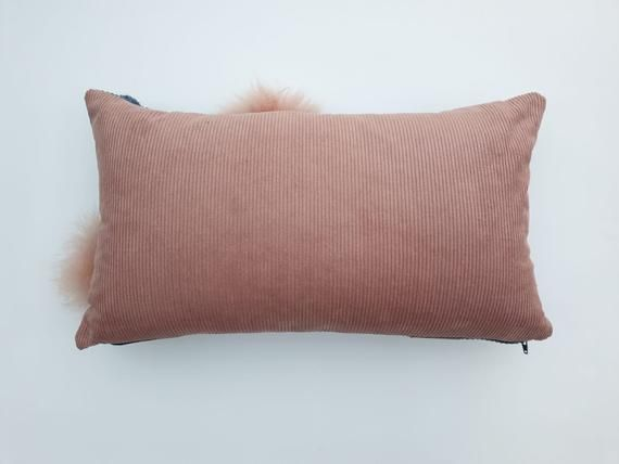 Pattern Cushion Blue Corduroy With Pink Contrast Back Cushion