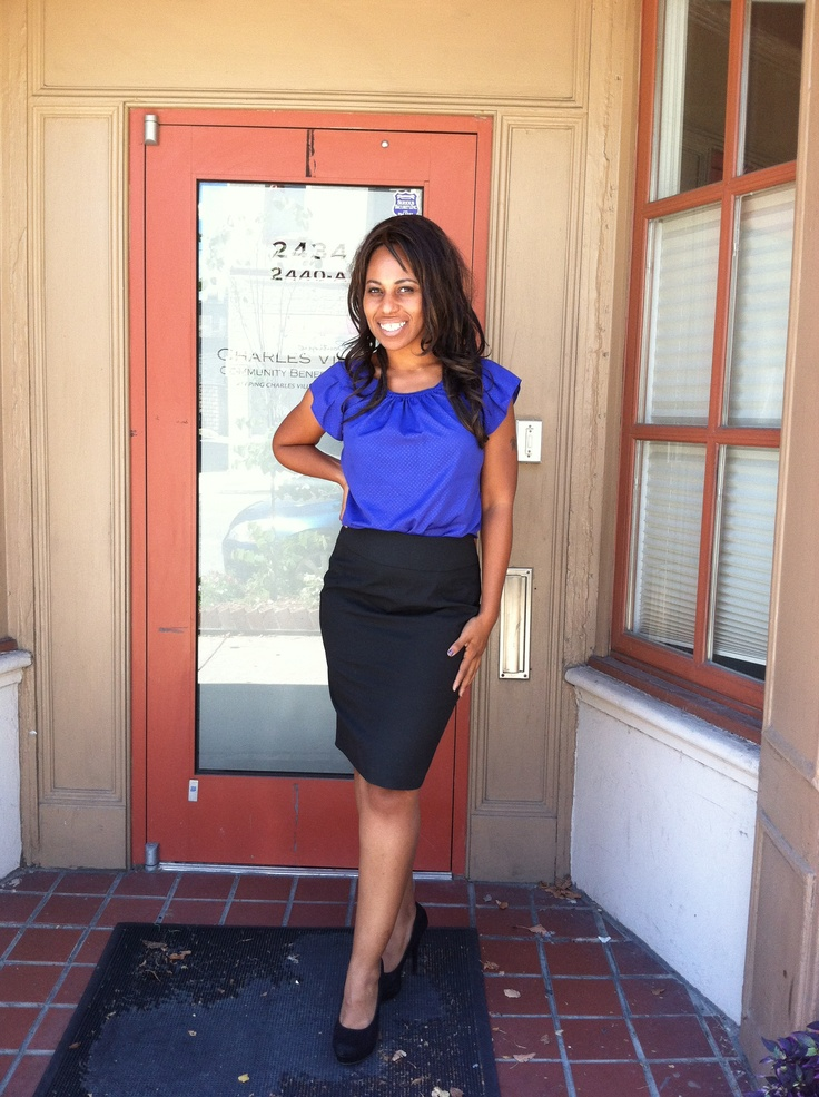 bright blue top black pencil skirt work style