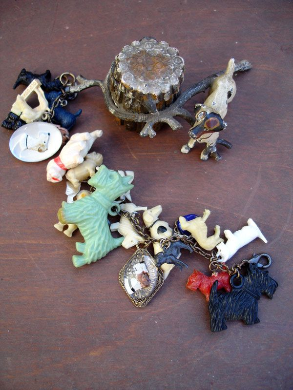 Vintage Dogs Charm Bracelet With Green Dog Adornments Pinterest Jewelry Bracelets And