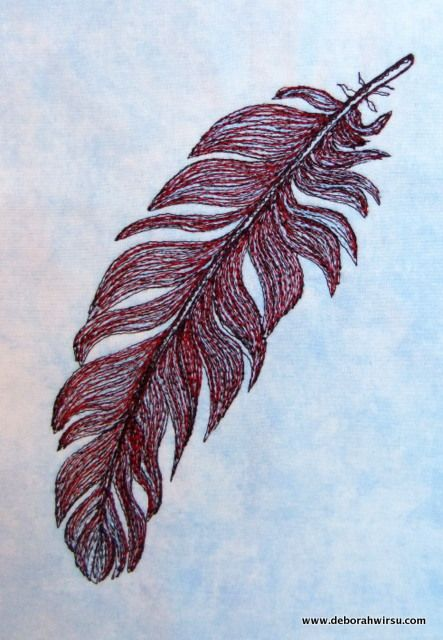 Thread Sketching in Action No 14 - Simple feather with 3 threads - Deborah Wirsu