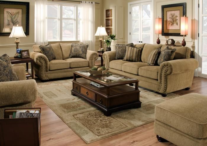Traditional Style Sofa With Rolled Flaired Arms, Cathedral Shaped Semi  Attached Back Custions And Box Cushions. Accented By A Three Wooden Legs  Along Front, ...