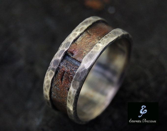 Rustic Copper Mens Ring Mens Engagement Ring by EternitaPreziosa
