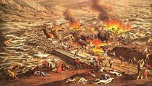 The Johnstown Flood occurred on May 31, 1889. It was the result of the catastrophic failure of the South Fork Dam situated on the Little Conemaugh River 14 miles upstream of the town of Johnstown, Pennsylvania, USA. The dam's failure unleashed a torrent of 20 million tons of water  from the reservoir known as Lake Conemaugh. With a volumetric flow rate that temporarily equaled that of the Mississippi River, the flood killed 2,209 people.