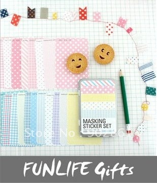 [funlife] Novelty Back to School set of 27 sheets pastel Dotted Decor masking sticker Set+tin case-in Wall Stickers from Home & Garden on Aliexpress.com