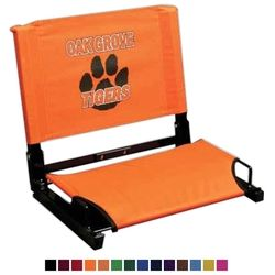stdchr - Custom Patented Stadium Chair Bleacher Seat | Promotional Seat Cushion This is the most comfortable stadium chair on the market, plus extremely durable.  Concrete or worse, aluminum bleachers are no fun during a game, this gives a little comfort. Use as a fundraising item or as a Booster gift with donation.
