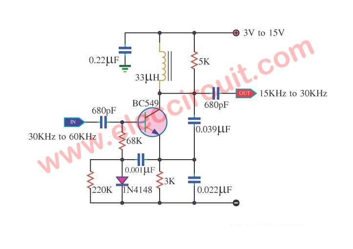 Simple Frequency Divider Using One Transistor Bc549 Eleccircuit Com First Transistor Simple Electronic Circuits Transistors