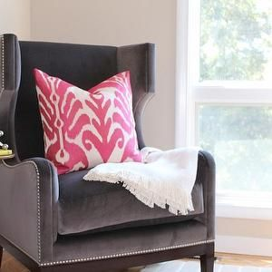 Gray Velvet Wingback Chair, Contemporary, living room, Julie Rootes Interiors