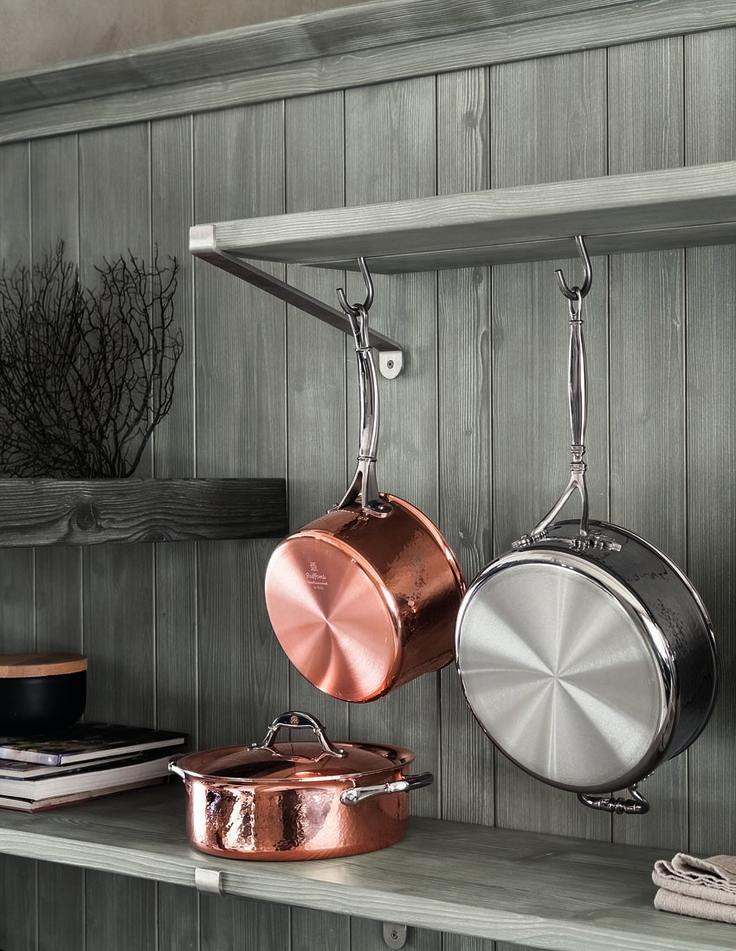 Mensole con ganci di Scandola Mobili. / Shelf with steel hooks by Scandola Mobili.   #Scandolamobili #complementi #accessories