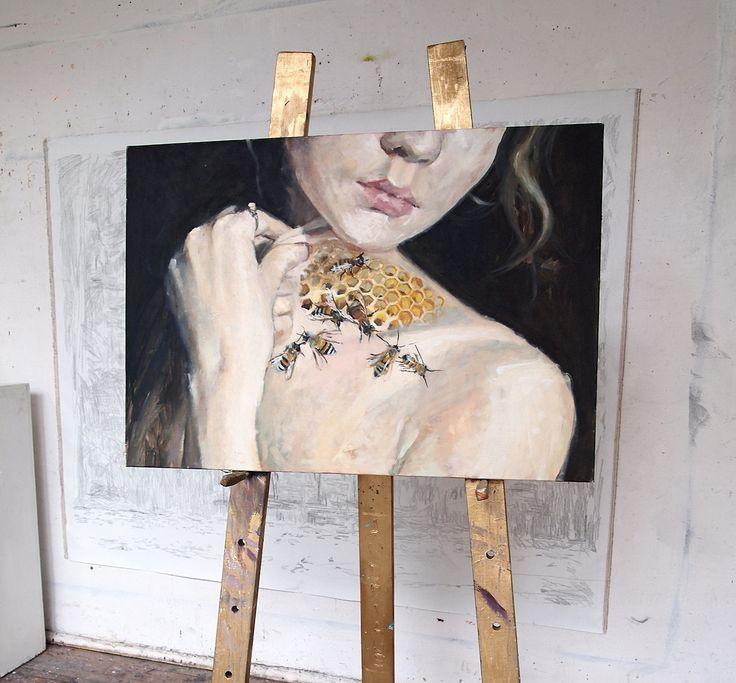 original artwork Honey oil on canvas, beauty bees and dark drama