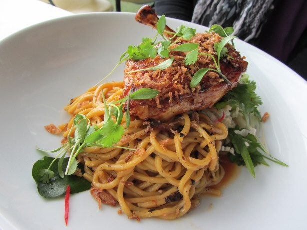 soya grazed cornfed chicken, egg noodles and black bean dressing.