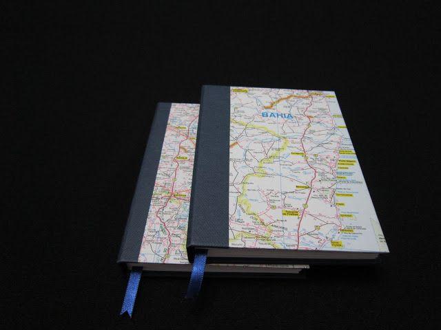 ... de tudo um pouco...: Caderno capa mapa com costura tradicional