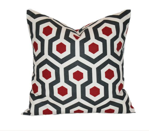Honeycomb Pattern Red and Gray Pillow Cover - You Choose the Size