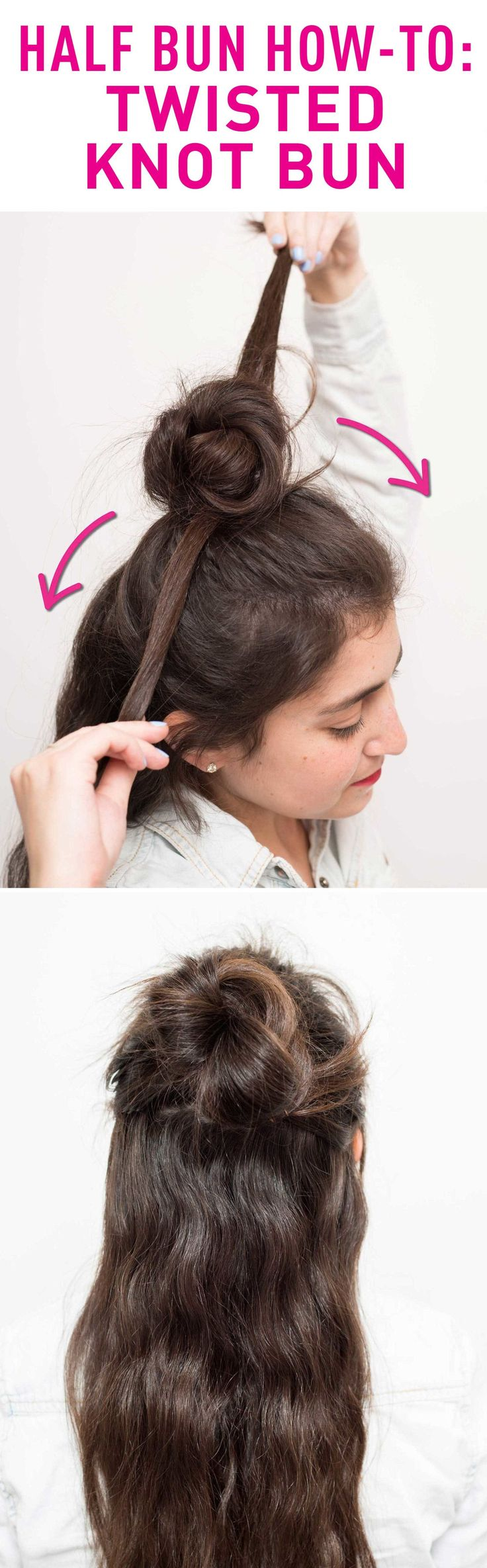 For a fuller half bun, try twisting your hair in opposite directions and pinning them in place.