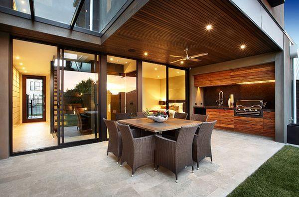 indoor outdoor kitchen designs | ... Outdoor Kitchen Roof Design With Wooden Tropical Furniture Design For