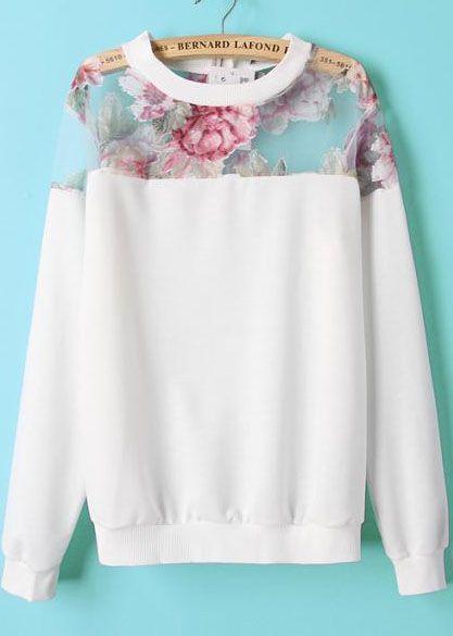 White Contrast Organza Floral Loose Sweatshirt 17.99