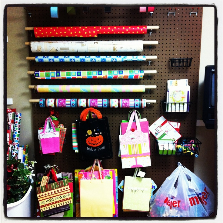 Organized Wall In Craft / Storage / Wrapping Room! #craft #hiddenstorage