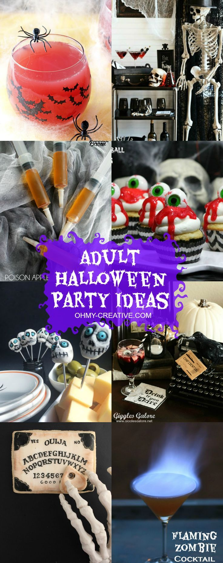 "These Adult Halloween Party Ideas do not disappoint! Clever drinks, desserts and decor…haha…the three ""D's"" for the ultimate Halloween party! Make one or two and be on your way to hosting a spooktacular party! 