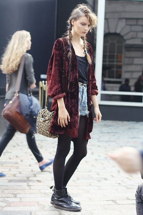 Grunge Style: denim cutoffs, dark tights, Doc Martens, tee and a statement jacket (in this case - a velvet one)