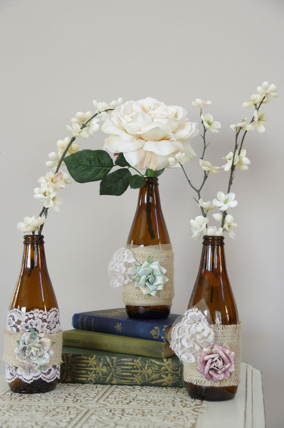 Rustic bottles for centerpiece decoration im saving up for Beer bottle decoration ideas