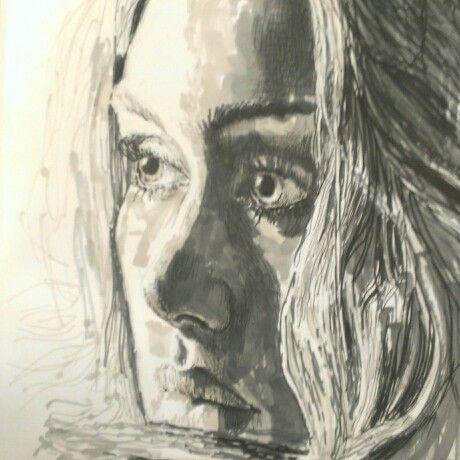 Adele,pen drawing.