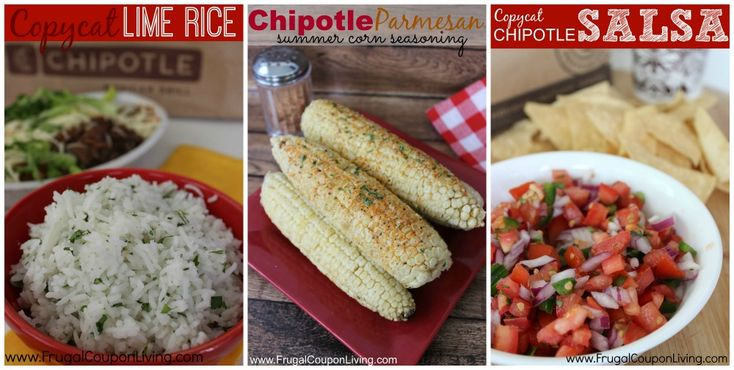 Copycat Chipotle Recipes including Carnitas  in the Crock-Pot, Copycat Chipotle Lime Rice with Cilantro,  Chipotle Parmesan Corn Seasoning and Chipotle Sala or Pica De Gallo on Frugal Coupon Living: Chipotle Carnita, Chipotle Lime Rice, Chipotle Recipes, Parmesan Corn, De Gallo, Frugal Coupon, Corn Seasoning, Copycat Chipotle, Coupon Living
