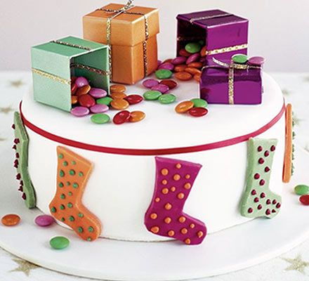Santa's stocking cake #christmas #food #recipe Visit us: http://explodingtastebuds.com