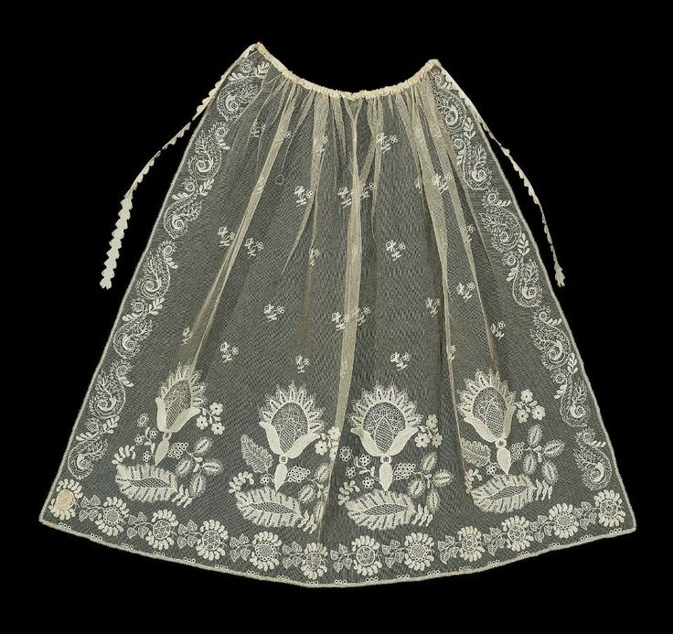 """1820-40 Apron, cotton net with cotton embroidery and silk ribbon. (26 3/8"""" x 31 1/2"""").  MFA 28.832"""