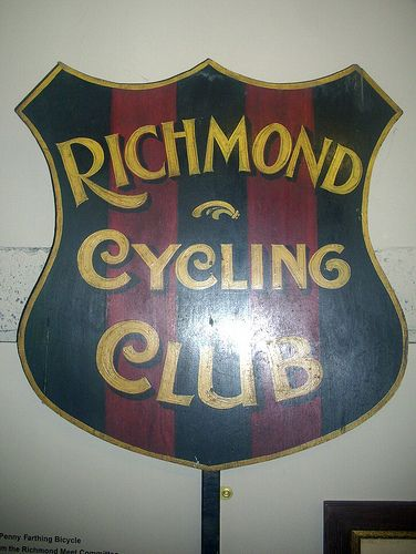 """Richmond Cycling Club shield.  View my original transport paintings at my website; http://jamessetevensart.carbonmade.com/about   or """"Like"""" my face book page at;  https://www.facebook.com/ClassicCarArtByJamesStevens?ref=hl   for regular updates or to contact me about possible commissions."""