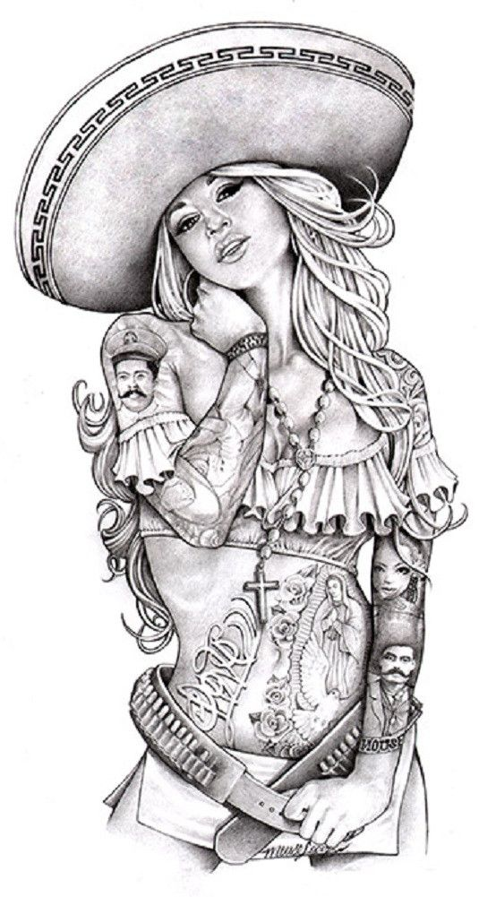 Love Charra by Mouse Lopez Sexy Chicano Woman Tattoo Canvas Art Print                                                                                                                                                                                 More