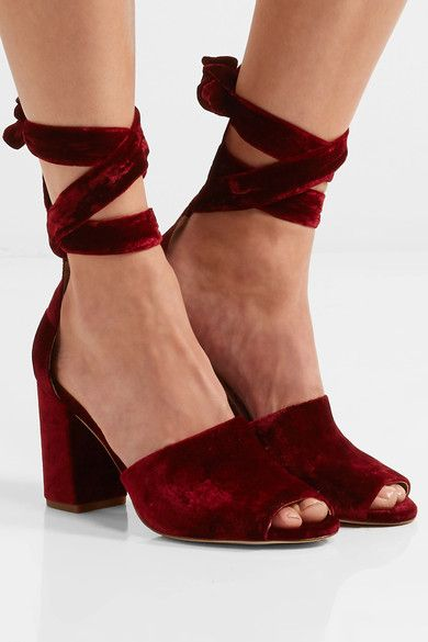 Heel measures approximately 85mm/ 3.5 inches Burgundy velvet Ties at ankle Designer color: CranberryLarge to size. See Size & Fit notes.