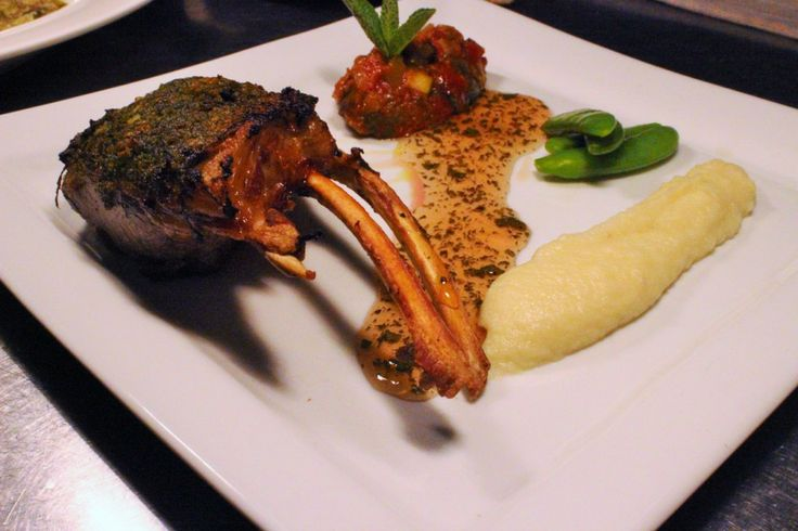Herb crusted rack of Irish lamb, cauliflower puree, ratatouille and home made mint jelly. Its still cold but spring is just around the corner!