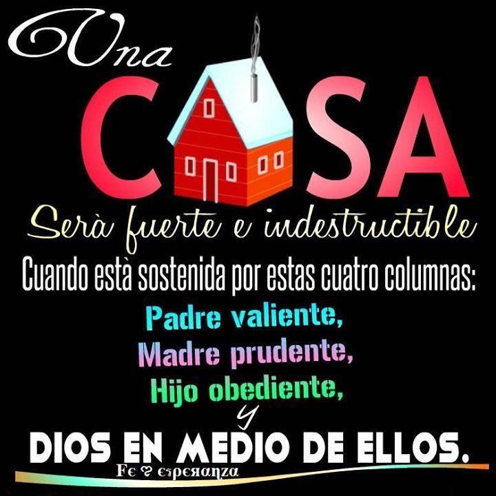 Una casa será fuerte e indestructible cuando está sostenida por estas cuatro columnas: padre valiente, madre prudente, hijo obediente y DIOS EN MEDIO DE ELLOS !