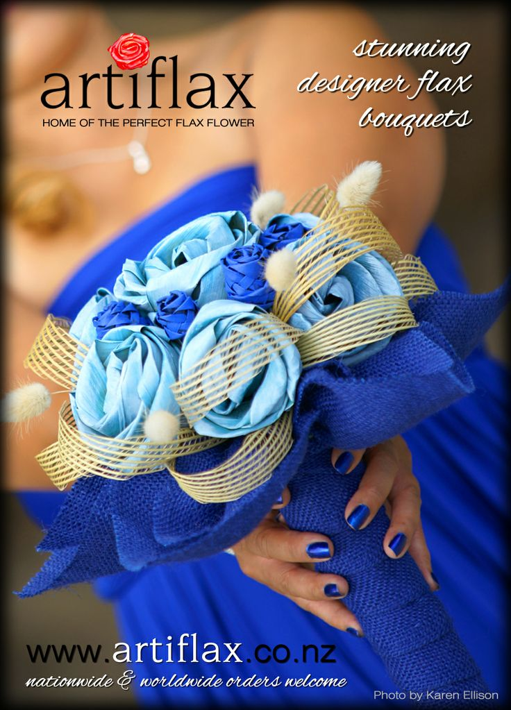 Bride & Groom Ad - Issue 80  Vibrant Coblat blue and powder blue flax roses with natural bunny tails and Hapene surrounded with cobalt blue hessian