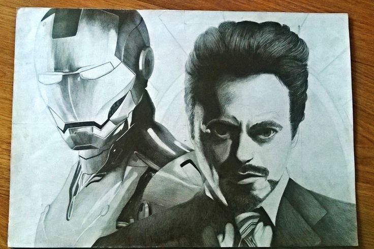 Iron man and Tony Stark drawing