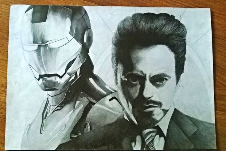 Iron man and Tony Stark drawing