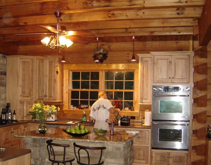 Kitchen Excellent Ceiling Kitchen Lights With Fan On Wooden Plafond Panels Exposed Over Kitchen Island With Granite Tops As Interesting As Pine Woods Kitchen Cabinetry Natural Color Panels In Rustic Kitchens Pine Kitchen