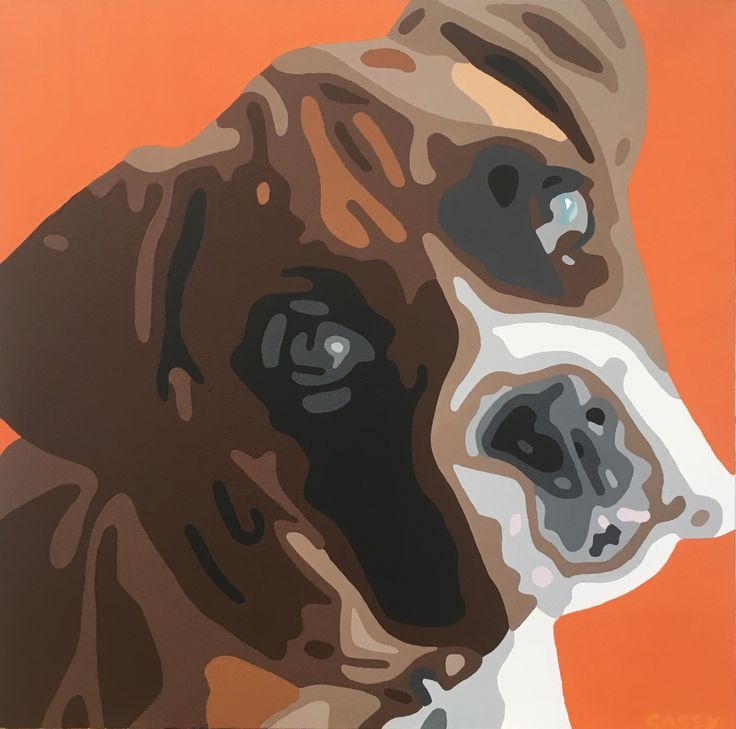 Puppy Love ~ Modern Acrylic Painting of a Boxer Puppy Dog. Size: 23.5 x 23.5 inches. Contact for price.