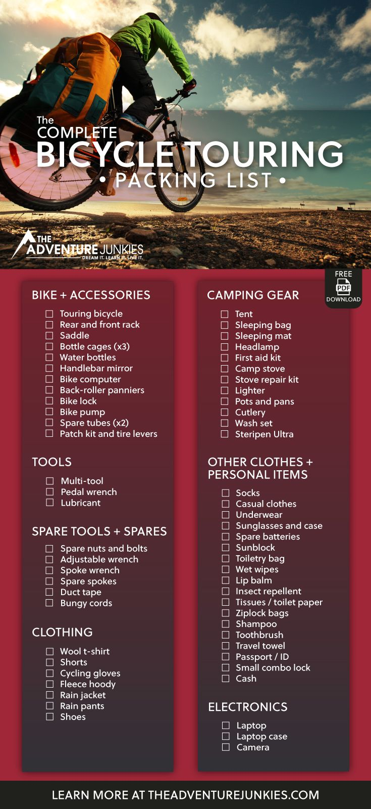 The Ultimate Bike Touring Packing List with a PDF Download