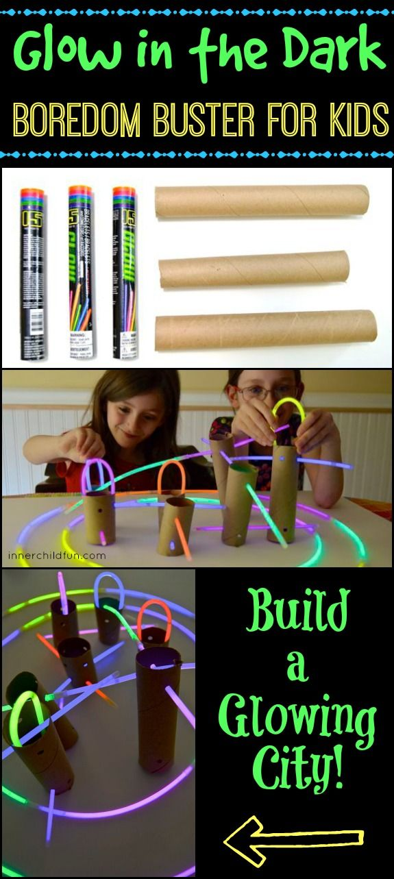 This glow in the dark building activity keeps kids busy on a rainy day, and it only uses a few materials. Great boredom buster!