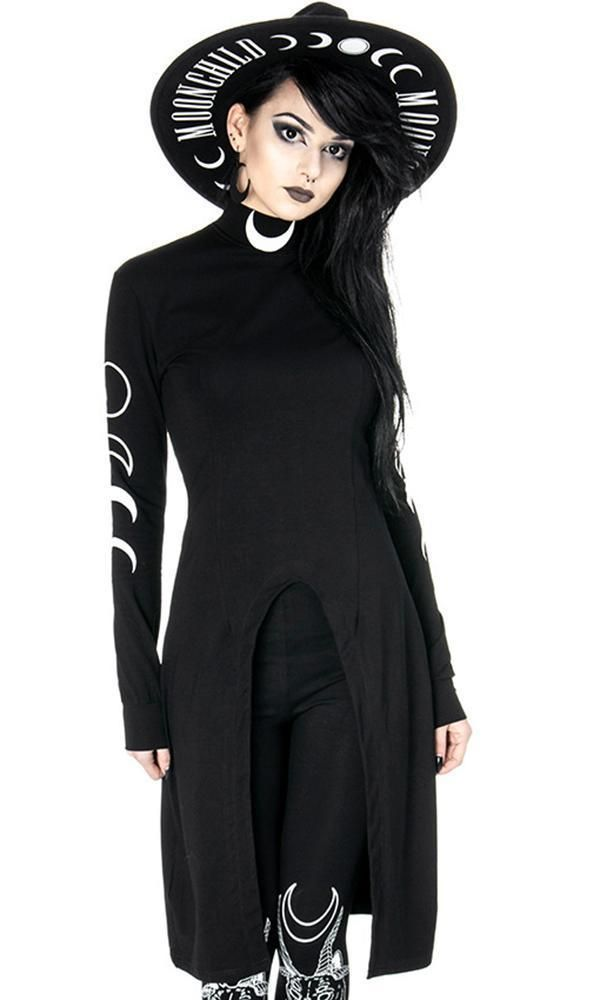 Restyle Crescent Moon Gothic Oversized Cut Out Cold Shoulder Hippie Punk Top