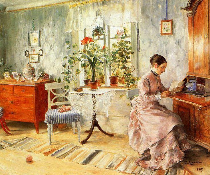 Carl Larsson (Swedish painter) 1853 - 1919 Damer / Interiör från Fürstenbergska hemmet (Woman / interior of Fürstenberg home), 1887 pastel