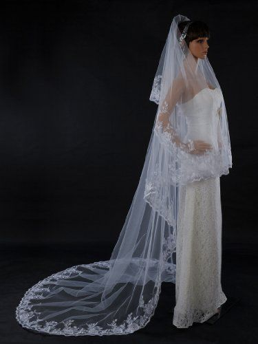Topwedding White 1 Tier Cathedral Length Voile Wedding Veil with Embroidered Edge *** More info could be found at the image url.(This is an Amazon affiliate link)