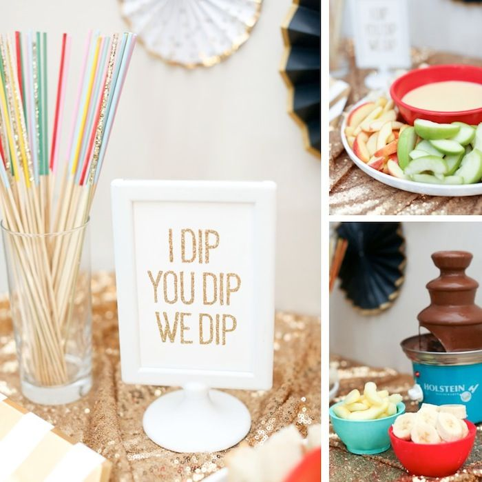 Kid Friendly Fondue Bar with easy Cheese + Chocolate Recipes! On Kara's Party Ideas by Evite and Chiquita Bites! KarasPartyIdeas.com