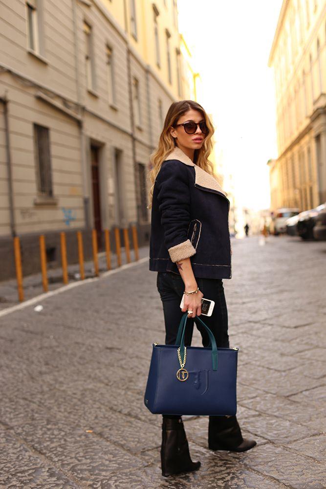 Chiara Nasti wearing the TRUSSARDI JEANS It Bag #TJBag