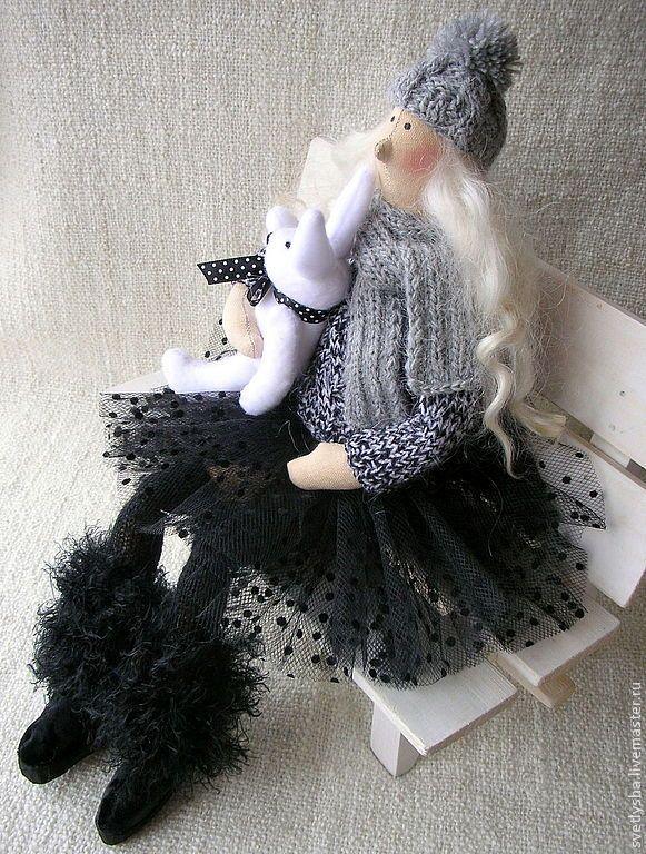 Купить Зимняя тильда с зайкой - чёрный, тильда, ангел, кукла ручной работы, зима